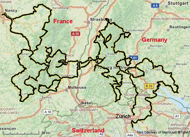 Map Of France Germany.Lightweight Bicycle Tour France Germany Black Forst Vosges